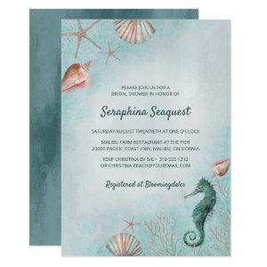 Seashore | Beach Blue Seashells Bridal Shower Invitation starting at 2.55