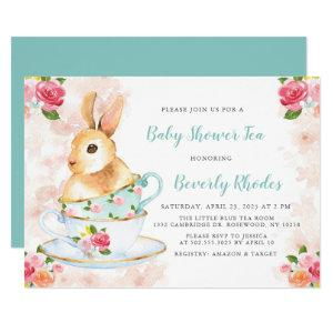 Shabby Chic Bunny Baby Shower Tea Party Invitation starting at 2.40