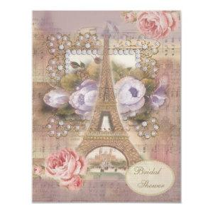 Shabby Chic Eiffel Tower Floral Bridal Shower Invitation starting at 2.31