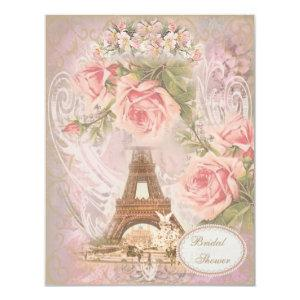 Shabby Chic Eiffel Tower Pink Floral Bridal Shower Invitation starting at 2.31