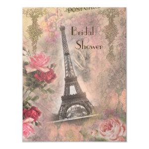 Shabby Chic Eiffel Tower & Roses Bridal Shower Invitation starting at 2.31