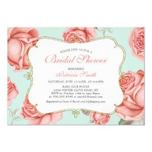 Shabby Chic Mint & Coral Bridal Shower Invitation starting at 2.45