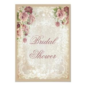 Shabby Chic Roses Pearls and Lace Bridal Shower Invitation starting at 2.66