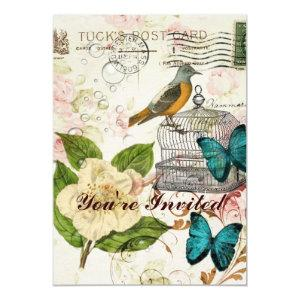shabby elegance camellia french bird butterfly invitation starting at 2.77