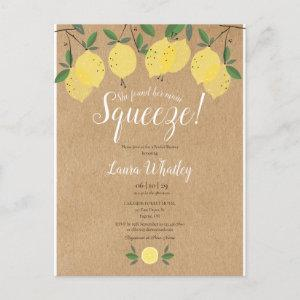 She Found Her Main Squeeze Lemon Bridal Shower Announcement Postcard starting at 1.70