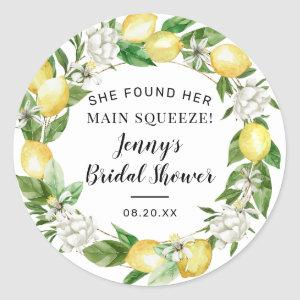 She Found Her Main Squeeze Lemon Bridal Shower Classic Round Sticker starting at 6.65