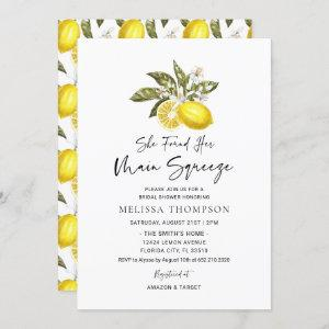 She Found Her Main Squeeze Lemon Bridal Shower Invitation starting at 2.50