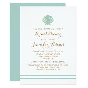 Shell Watercolor Aqua Bridal Shower Invitation starting at 2.40
