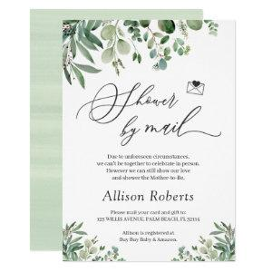 Shower By Mail Script Greenery Eucalyptus Leaves Invitation starting at 2.25