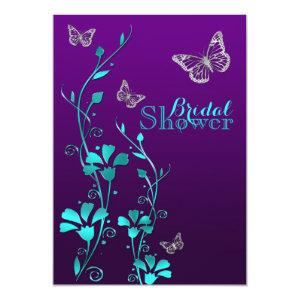 Shower Invite | Purple Teal, Floral, Butterflies starting at 2.66