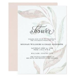 SHOWER | Wisp of Color Pale Coral Foliage Invitation starting at 2.66
