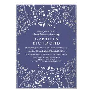 Silver and Navy Baby's Breath Bridal Shower Invitation starting at 2.51