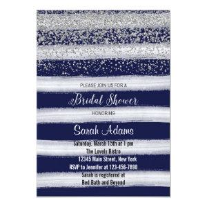 Silver and Navy Bridal Shower Invitation starting at 2.51