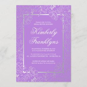 Silver and Purple Floral Vintage Bridal Shower Invitation starting at 2.51