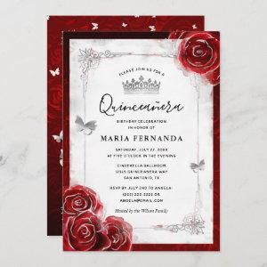 Silver and Red Rose Elegant Quinceanera Invitation starting at 2.82
