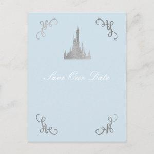 Silver & Blue Storybook Princess Save the Date Postcard starting at 1.35