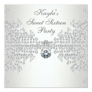Silver Diamonds White Sweet Sixteen Birthday Party Invitation starting at 2.51