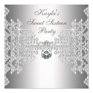 Silver Diamonds White Sweet Sixteen Birthday Party Invitation starting at 2.40