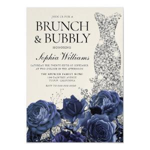 Silver Dress Navy Brunch & Bubbly Bridal Shower Invitation starting at 3.70