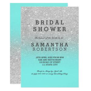 Silver faux glitter teal ocean chic bridal shower invitation starting at 2.40