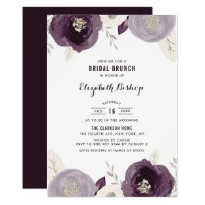 Silver Foil and Purple Flowers Chic Bridal Brunch Invitation starting at 2.40