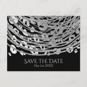 Silver Glam Cheetah Print Exotic Save the Date Announcement Postcard starting at 2.02