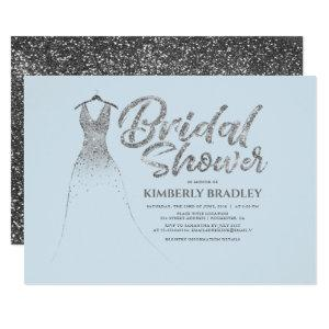 Silver Glitter Dress Dusty Blue Bridal Shower Invitation starting at 2.15