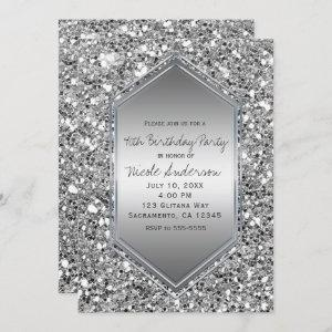 Silver Glitter Glam Chic Birthday Party Any Event Invitation starting at 2.61