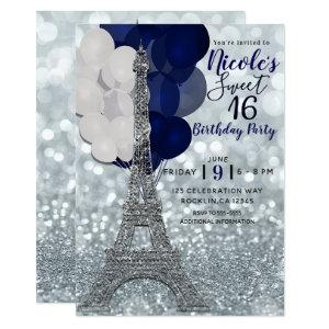 Silver Glitter Navy Balloons Paris Eiffel Tower Invitation starting at 2.82