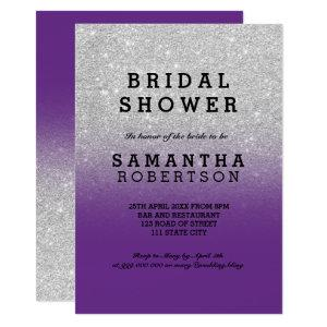 SIlver glitter plum purple bridal shower Invitation starting at 2.40