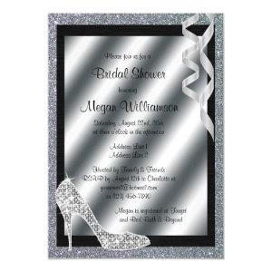 Silver Glittery Stiletto & Streamers Bridal Shower Magnetic Invitation starting at 5.05