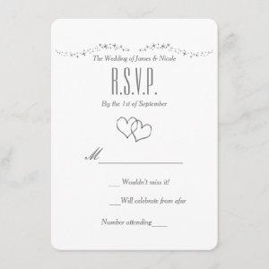 Silver Hearts & Sparkle Wedding RSVP Card starting at 2.56