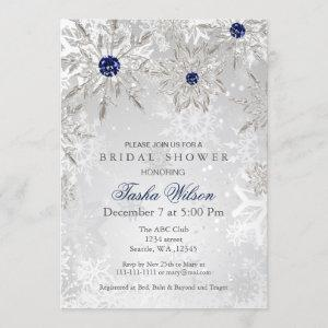 Silver Navy Snowflakes Winter Bridal Shower Invite starting at 2.50