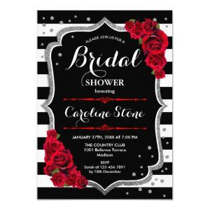 Silver Red Black White Stripes Bridal Shower Invitation starting at 2.35