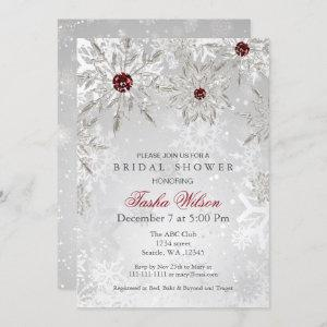 Silver Red Crystal Snowflakes Winter Bridal Shower starting at 2.50