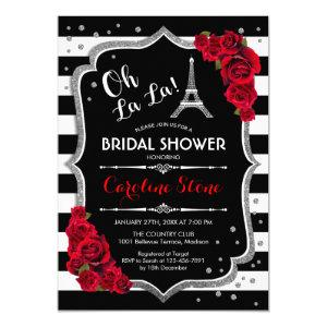 Silver Red Roses French Style Bridal Shower Invitation starting at 2.35