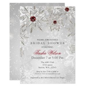 Silver Red Snowflakes Winter Bridal Shower Invite starting at 2.50