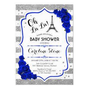 Silver Royal Blue Roses French Style Baby Shower Invitation starting at 2.35