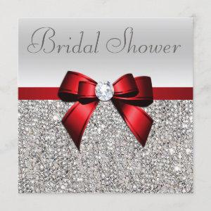 Silver Sequins Red Bow Diamond Bridal Shower Invitation starting at 2.40