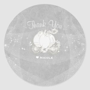 Silver Sparkle Carriage Cinderella Party Favor Classic Round Sticker starting at 7.55