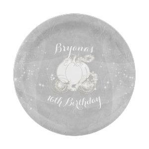 Silver Sparkle Carriage Elegant Cinderella Party Paper Plate starting at 1.80