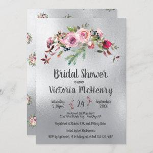 Silver Watercolor Floral Frosty Rose Bridal Shower Invitation starting at 2.40
