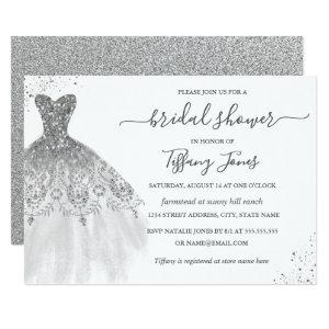 Silver White Glitter Wedding Dress Bridal Shower Invitation starting at 2.66