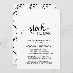 Simple Black Calligraphy Stock the Bar Invitation starting at 2.51