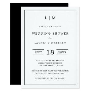 Simple Black White Monogram Couples Wedding Shower Invitation starting at 2.51