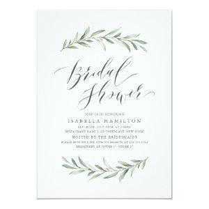 Simple calligraphy rustic greenery bridal shower invitation starting at 2.26