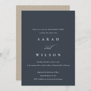 Simple Chic Script Black Navy Engagement Invite starting at 2.35