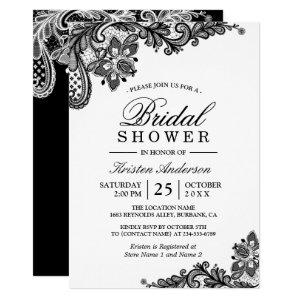 Simple Classy Chic Black White Lace Bridal Shower Invitation starting at 2.30