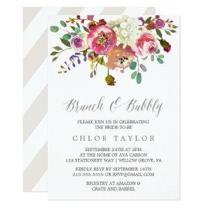 Simple Floral Watercolor Bouquet Brunch and Bubbly Invitation starting at 2.26