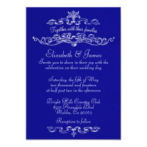 Simple Luxury Royal Blue Wedding Invitations starting at 2.66